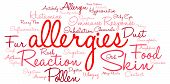 stock photo of allergies  - Allergies word cloud on a white background - JPG