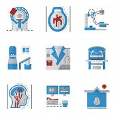 picture of ct scan  - Simple flat color vector icons for medical research - JPG