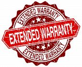 foto of extend  - extended warranty red round grunge stamp on white - JPG