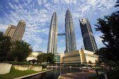 stock photo of petronas towers  - petronas twin towers at kuala lumpur malaysia - JPG