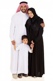 image of muslim  - portrait of beautiful young muslim family isolated on white - JPG