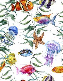 stock photo of algae  - Watercolor sea life seamless pattern - JPG