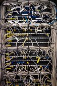 Close-up of rack mounted server in server room poster