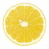Slice Of Lemon Citrus Fruit Isolated On White poster