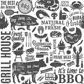 Retro Styled Typographic Vector Barbecue Seamless Pattern Or Background poster
