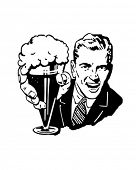 picture of drawing beer  - Beer Man With Glass Of Frothing Ale - JPG