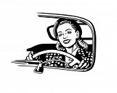 Female Motorist - Retro Clip Art