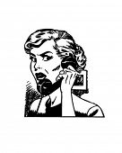 Angry Woman On Phone - Retro Clip Art