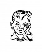 Crying Boy - Retro Clip Art
