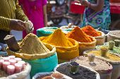 Colorful Spices Powders And Herbs In Traditional Street Market In Delhi. India. poster