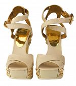 stock photo of high heels shoes  - gold shoes - JPG