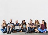 Diverse Group of People Community Togetherness Technology Concept poster