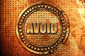 avoid, 3D rendering, metal text poster