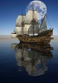 picture of tall ship  - The ship sails at sea - JPG