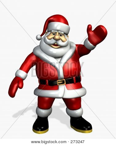 Picture or Photo of 3d render of santa claus waving.