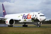 EDINBURGH, SCOTLAND, UK - DECEMBER 4: A Fedex Panda Express just seconds after landing at Edinburgh