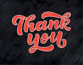 Thank You Handwritten Inscription. Hand Drawn 3d Lettering. Script Calligraphy. Greeting Card. Vecto poster