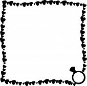 Vector Black And White Retro Vintage Border Photo Frame Made Of Hearts With Diamond Engagement Ring  poster
