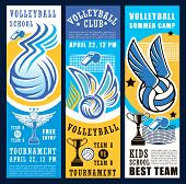 Volleyball Sport Club Teams Tournament Banners. Vector Balls, Net, Winner Trophy Cup And Referee Whi poster