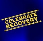 Grunge Celebrate Recovery Stamp On Complex Gradient Background. Vector Celebrate Recovery Rubber Sea poster