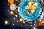 Christmas Holiday Dinner table setting. Tabletop, top view. Xmas table decoration with blue plate, c poster