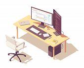 Coder Or Programmer Office Workspace. Vector Isometric Desk, Desktop Pc, Two Computer Monitors, Lapt poster