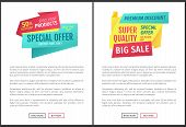 Special Offer And Big Sale Limited Time Only. Promotional Discount Posters With Text Sample Set. Gua poster