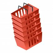 Stack Of Red Basket Icon. Isometric Of Stack Of Red Basket Vector Icon For Web Design Isolated On Wh poster