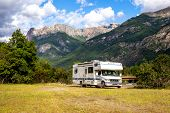 Panoramic View Of Motorhome Rv In Chilean Landscape In Andes. Family Trip Traval Vacation In Mauntai poster