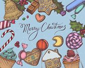 Vector Composition With Colored Gingerbread Men, Gingerbread, Lollipop, Bar, Candies, Lettering, Cup poster