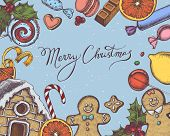Vector Composition With Colored Gingerbread Men, Gingerbread, Macaron, Lollipop, Bar, Candies, Lemon poster