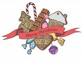 Vector Composition With Colored Gingerbread, Lollipop, Candies, Bar poster