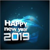 2019 On Blue Neon Background, 2019 New Year, Happy New Year 2019, New Year 2019, Numeral 2019, New Y poster