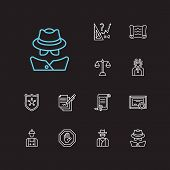 Justice Icons Set. Detective And Justice Icons With Labor, Cowboy And Scroll. Set Of Contact For Web poster