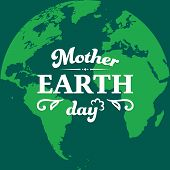 Mother Earth Day Typographical Badge On The Flat Earth Planet Silhouette. Retro And Vintage Earth Da poster