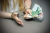 Office Worker In Handcuffs Holding A Bribe Of Euro Banknote. Close-up Woman Hands In Handcuffs. Arre poster