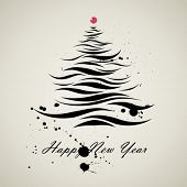 christmas new year tree calligraphic art