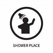 Shower Place Icon Isolated On White Background. Shower Place Icon Simple Sign. Shower Place Icon Tre poster