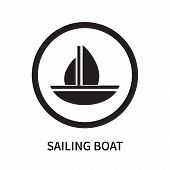 Sailing Boat Icon Isolated On White Background. Sailing Boat Icon Simple Sign. Sailing Boat Icon Tre poster