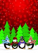 stock photo of christmas song  - Penguins Carolers Singing Christmas Songs with Snowing Winter Scene Illustration on Red Background - JPG