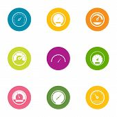 Fast Speed Icons Set. Flat Set Of 9 Fast Speed Icons For Web Isolated On White Background poster