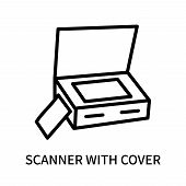 Scanner With Cover Icon Isolated On White Background. Scanner With Cover Icon Simple Sign. Scanner W poster