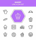 Bakery Line Icon Set.set Of Line Icons On White Background. Cupcake, Bread, Biscuit, Pie. Confection poster
