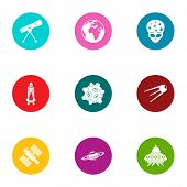 Universe Icons Set. Flat Set Of 9 Universe Icons For Web Isolated On White Background poster