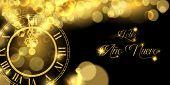 Happy New Year Luxury Golden Web Banner Illustration In Spanish Language, Clock Marking Midnight Tim poster