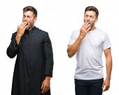 Collage of handsome young man and catholic priest over isolated background bored yawning tired cover poster
