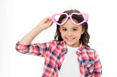 Child Charming Smile Fall In Love. Girl Heart Shaped Eyeglasses Celebrates Valentines Day. Girl Cute poster