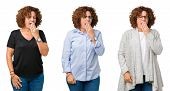 Collage of middle age senior woman over white isolated background bored yawning tired covering mouth poster
