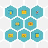 Set Of Website Icons Flat Style Symbols With Website Optimization, Database, Website Analytics And O poster