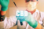 Cannabis Oil, Cbd Concept, Chemist Conducts Experiments By Synthesising Compounds With Using Dropper poster